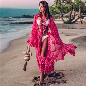 New Boho Pink Beach Maxi Cover up One Size